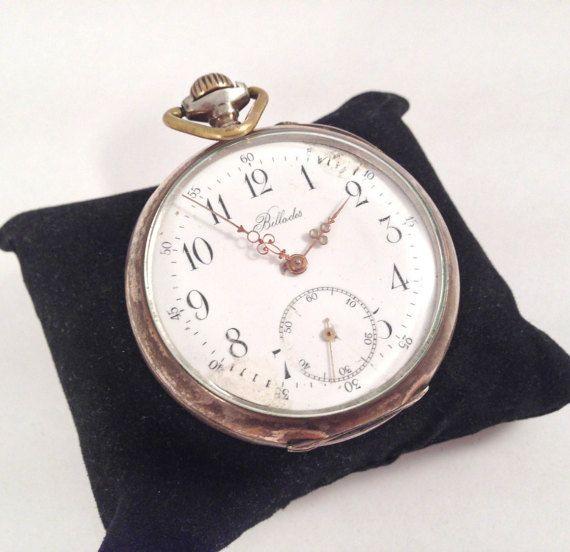 Silver Billodes Zenith 1890's Pocket Watch by StonebrookVintage