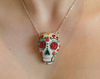 Sugar Skull - Dia de los muertos - day of the dead skull - polymer clay necklace