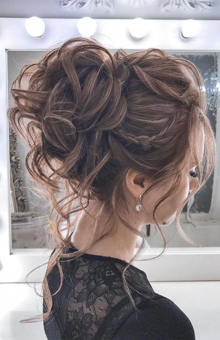 44 Romantic Messy Updo Hairstyles For Medium Length To Long Hair Messy Updo Hairstyle For Elegant Loo Hair Styles Classy Hairstyles Summer Wedding Hairstyles