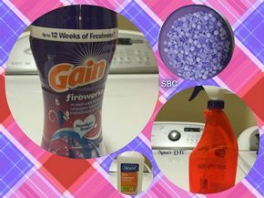 DIY Awesome smelling air and fabric freshener 1/4 to 1/2 Gain fireworks booster beads (depending how strong you like it) 2 cap fulls of r...