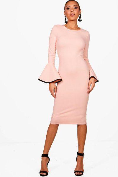 116f5ab686 Boohoo Contrast Flared Sleeve Midi Dress.  boohoo