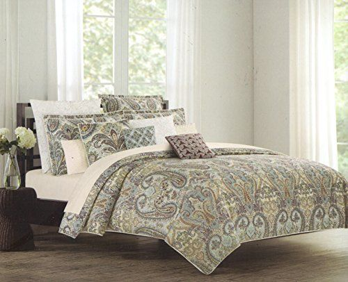 nicole miller king calking duvet cover set large floral paisley medallion blue red sage