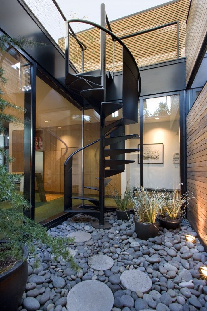 Interior courtyard  a bit small though  with black steel spiral staircase  to the roofBest 25  Outdoor stairs ideas on Pinterest   Deck railings  Trex  . Outdoor Metal Staircase Design. Home Design Ideas