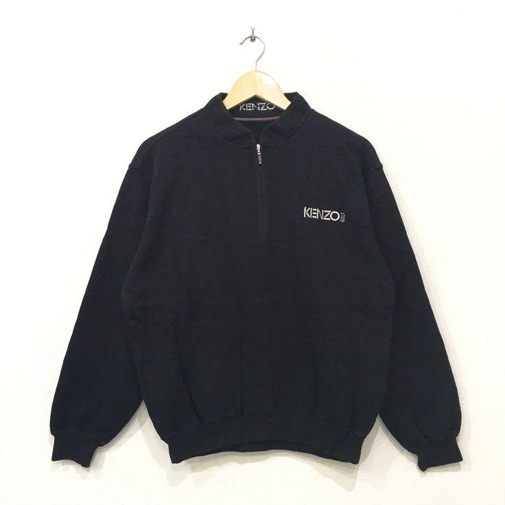 Rare!! KENZO GOLF Half Zipper Sweatshirt Pullover Jumper Spellout Men Clothing Yellow Colour Medium Size akquAlC