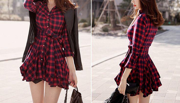 Новые поступления женщины одеваются красный плед напечатан блузка платья мода нерегулярные с длинным рукавом мини Vestidos с поясом L8146 купить на AliExpress