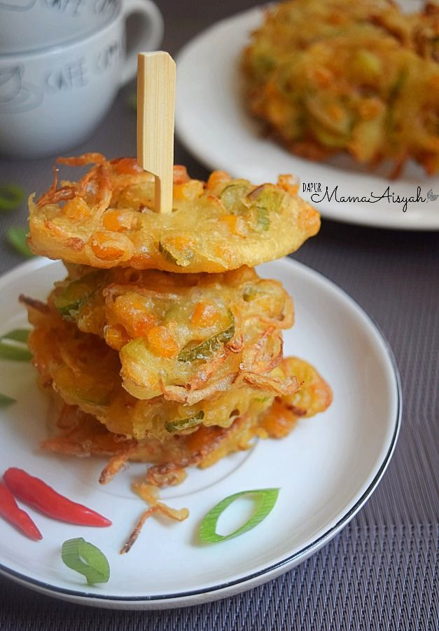 Vegetable Fritters (Bakwan) : corn kernels + bean sprouts + chives.. Add your favorite veggies!