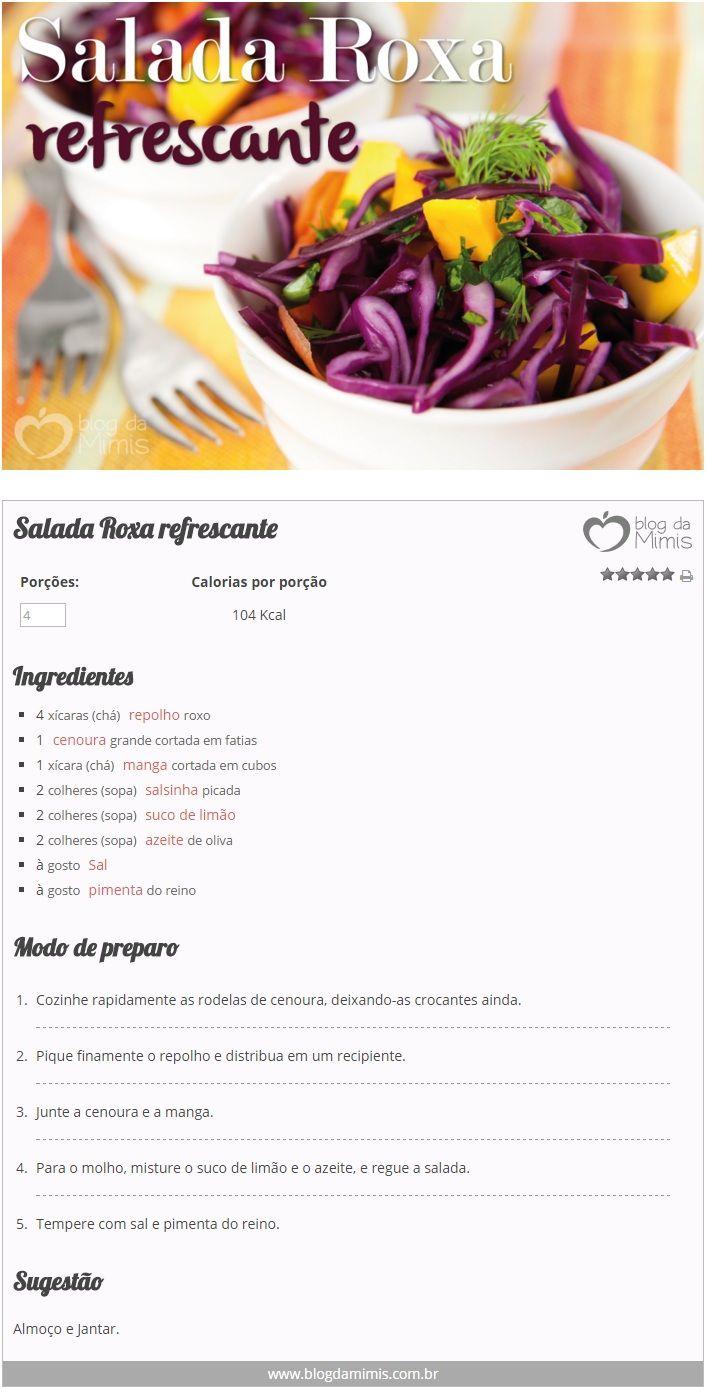 Salada Roxa refrescante - Blog da Mimis - Com pouquíssimas calorias essa salada linda vai dar cor e alegria à refeição!