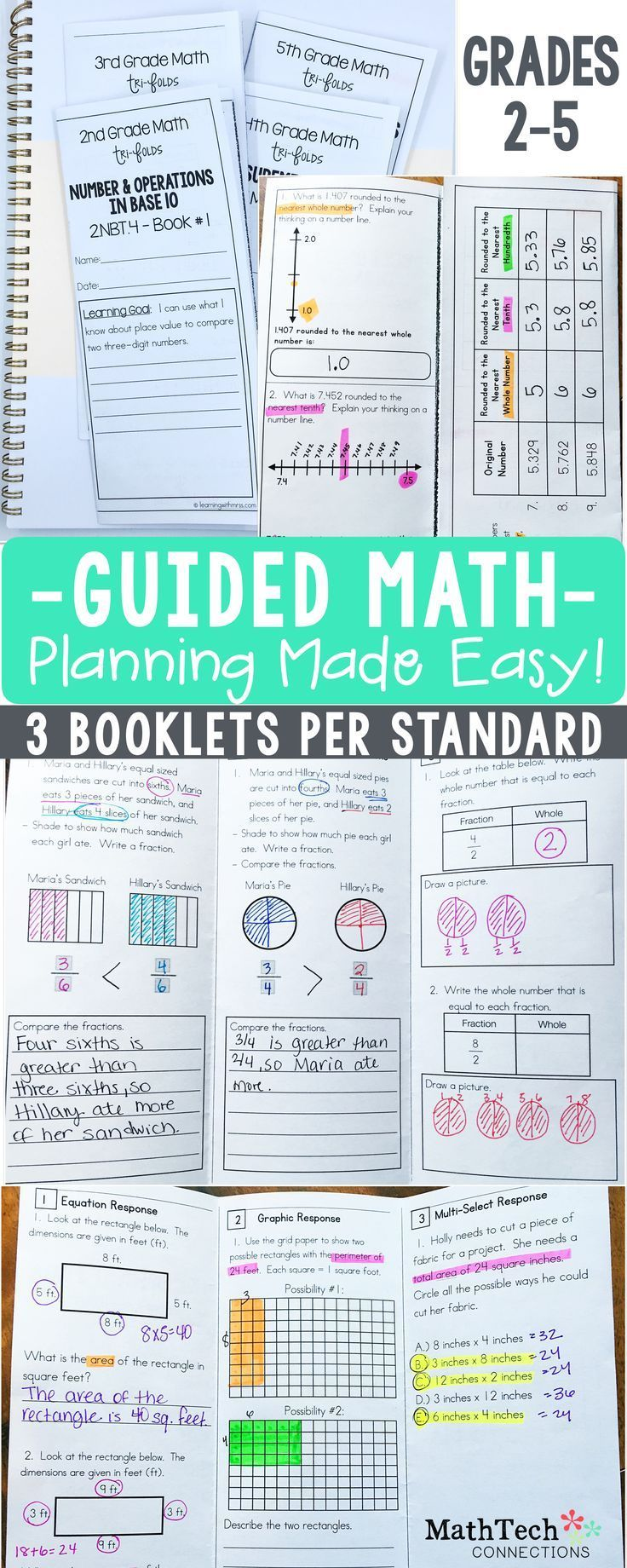 Plan your GUIDED MATH Small Groups with these common core aligned tri-folds. 3 booklets per standard give your plenty of material to review and assess. Math BUNDLES for Grades 2-5 are available!