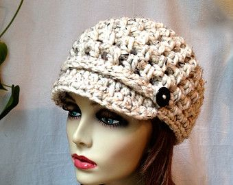 Womens Hat Newsboy Gray Crochet Black Pearl by JadeExpressions