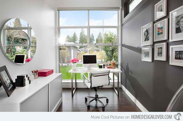 15 Ideas for Contemporary Gray Home Office Designs | Home Design Lover