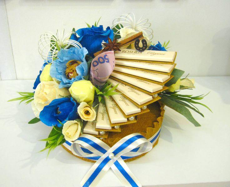 Подарок на день рождения из конфет женщине купить искусственные цветы оптом свао
