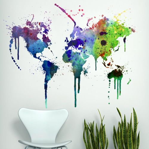 Watercolor World Map with  contemporary wall decal sticker.  This product is printed and cutted digitally in vinyl. $156.70