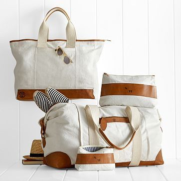 """Canvas with Leather Tote (the one in the back left with the sunglasses.) ((monogrammed with a """"K"""", font style """"Liza standard""""/556))"""