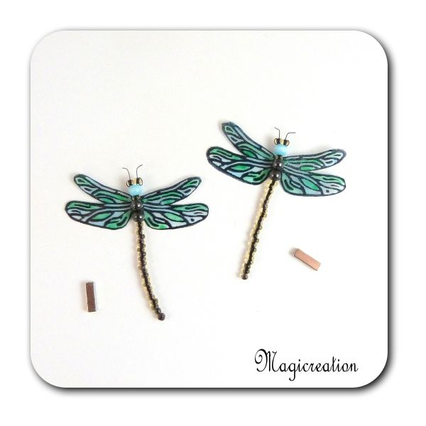 MAGNETS LIBELLULES TRANSPARENTES BLEU EMERAUDE-DEMOISELLE - Boutique www.magicreation.fr