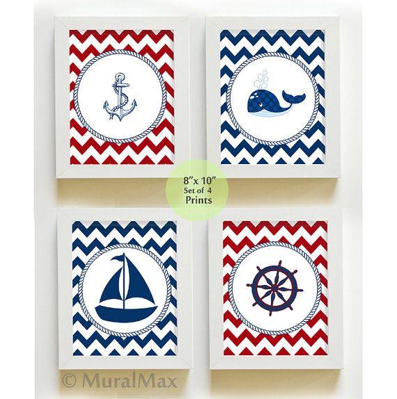 Nautical Nursery Art - Sail Boat Nursery Decor - Nautical Nursery  Prints, Nautical Baby Boy Nursery Room Decor set -  8 x10