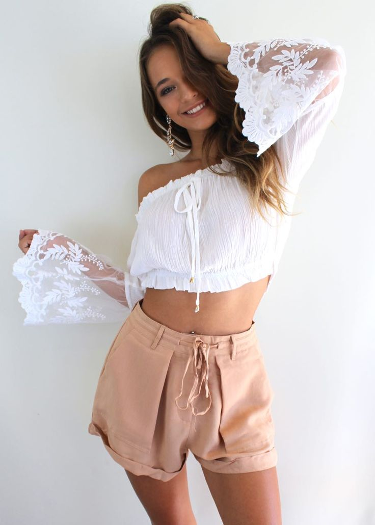 Stunning White Off the Shoulder Crop Top with lace belle sleeves // Available at Shine Boutiques // AU$49.00   #shine #boutiques #australia #sunshine #coast #boutique #fashion