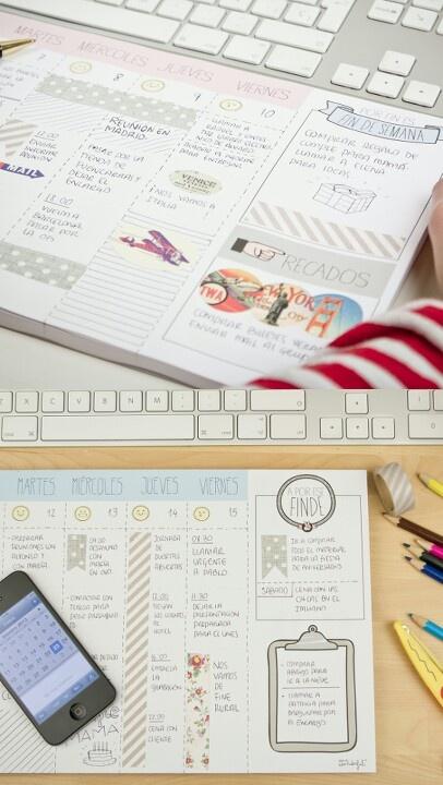 Organizador semanal de 60 páginas para todo el año y en 4 diseños diferentes. Mr. Wonderful Facebook