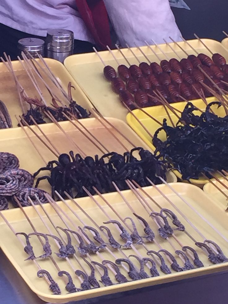 "Deep fried spiders and other ""good"" stuff at Wangfujin market, Beijing, China."