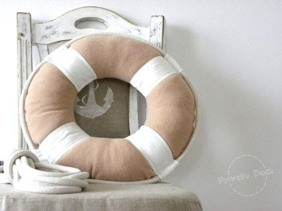 Lifebuoy Nautical Art Pillow form Private Dock ! Spectacular gift!  Lifebuoy is an rescue pillow will save you from boredom :) Original and unique sailing cushion, shape corresponding to lifebuoy. This is an interesting, innovative interior stylizing element, which can easily create a unique, maritime climate. Pillow adorned with huge attention to detail and rigging, made bilaterally with: pastel, rustic colors beige&white - polar fleece&cotton accessories - nautical rope - ivory colo...