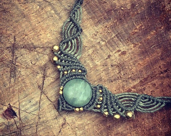 Jade necklace Magical Macrame necklace with brass beads macrame jewelry YOGA jewelry art of goddess Boho Chic gipsy bohemian tribal craft