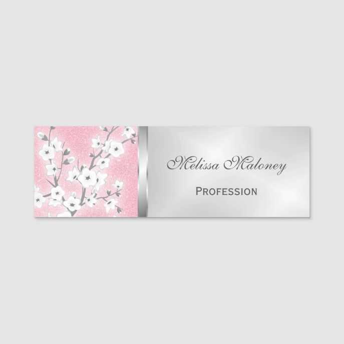 Cherry Blossoms Pink Glitter Silver Name Tag Zazzle Com Pink Glitter Name Tags Cherry Blossom