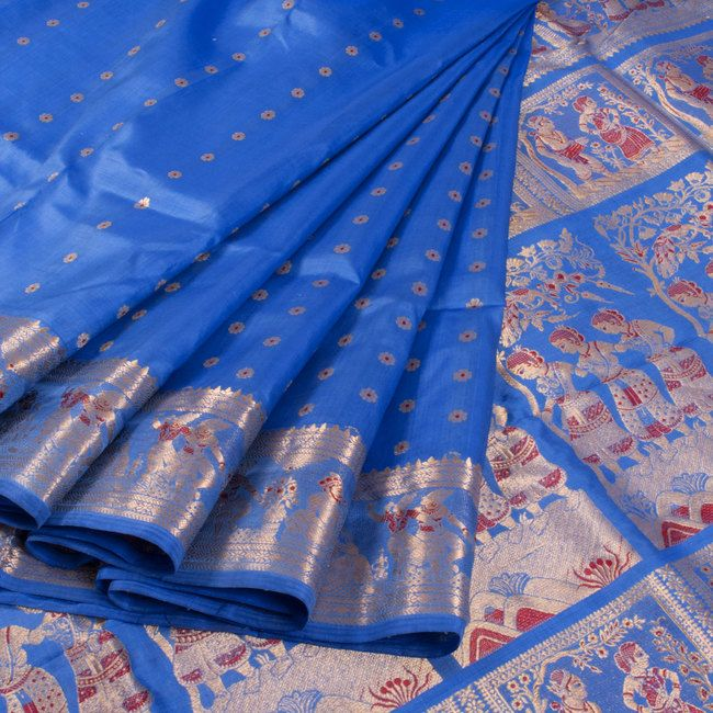 Handwoven Blue Swarnachari Fine Silk & Fine Zari Saree With Dancing Doll Motifs 10015949 - AVISHYA.COM