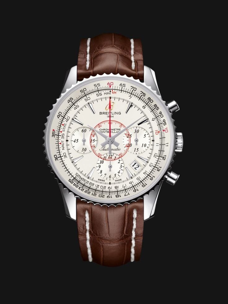 Montbrillant 01 watch by Breitling - vintage style stainless steel case with white silver dial and chocolate brown crocodile strap