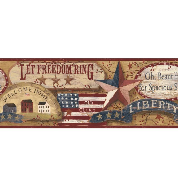 "Country Book Americana 15' x 9"" Wallpaper Border"