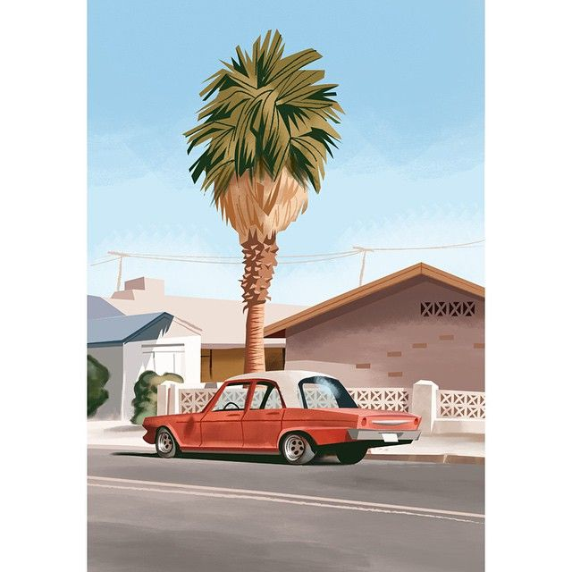 """Old Car With Palmtree"" #art #painting #illustration #characterdesign #design #vintage #vintageart #car #musclecar #vintagecar #midcentury #midcenturymodern #modernism #urban #urbanart #streetart #cali #socal"