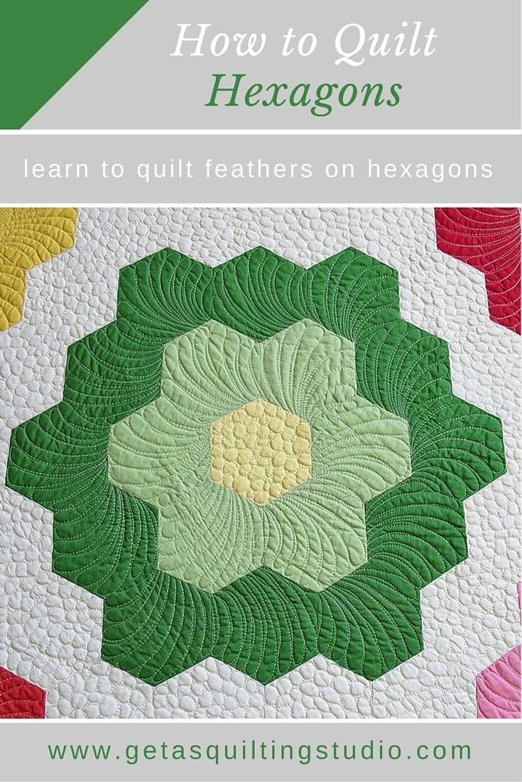 Learn to quilt hexagon quilts - the easy way! Click through to download hexagon flower printables to practice quilting feather on hexagons.