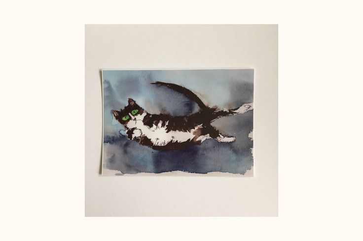A6 Postcard print of my cat painting #etsy shop: http://etsy.me/2BJQEji #art #blackandwhitecat #madcat  #catlovers #weirdcat #catart #catpostcard #theinkycreatures