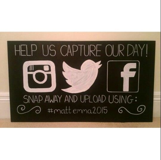 Our Wedding chalkboards to encourage our guests to take photos and upload using our #hashtag