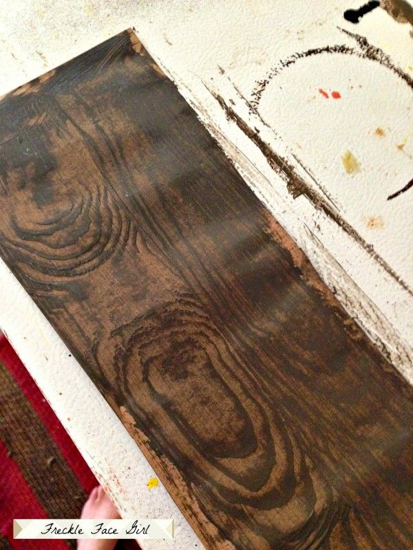 faux wood plank from brown paper freckle face girl for