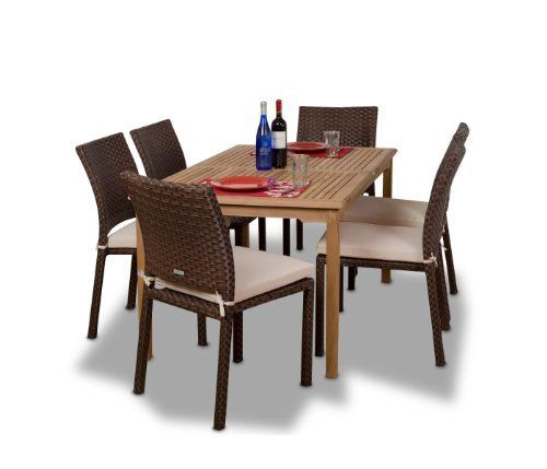 Amazonia Teak Luxemburg 7-Piece Teak/Wicker Rectangular Dining Set by Amazonia Teak. $1172.34. Free feron's wood sealer/preservative for longest durability. Penetrating oil that works great against the effects of air pollution salt air, and mildew growth. For best protection, perform this maintenance every season or as often as desired. 1 rectangular teak table 35w x 59d x 29h 6 wicker side chairs 22w x 18lx35h. Color: table light brown  chairs dark brown. 7 individual pieces. S...
