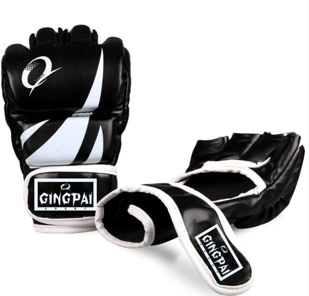 MMA Gloves Muay Thai Training Boxer Kick Boxing Half Mitts PU Leather