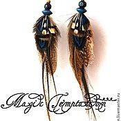 Украшения ручной работы. Ярмарка Мастеров - ручная работа Сине-коричневые серьги из перьев. Handmade.