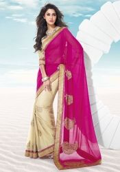 Trendy Beige And Magenta R Rajkumar Half And Half Saree