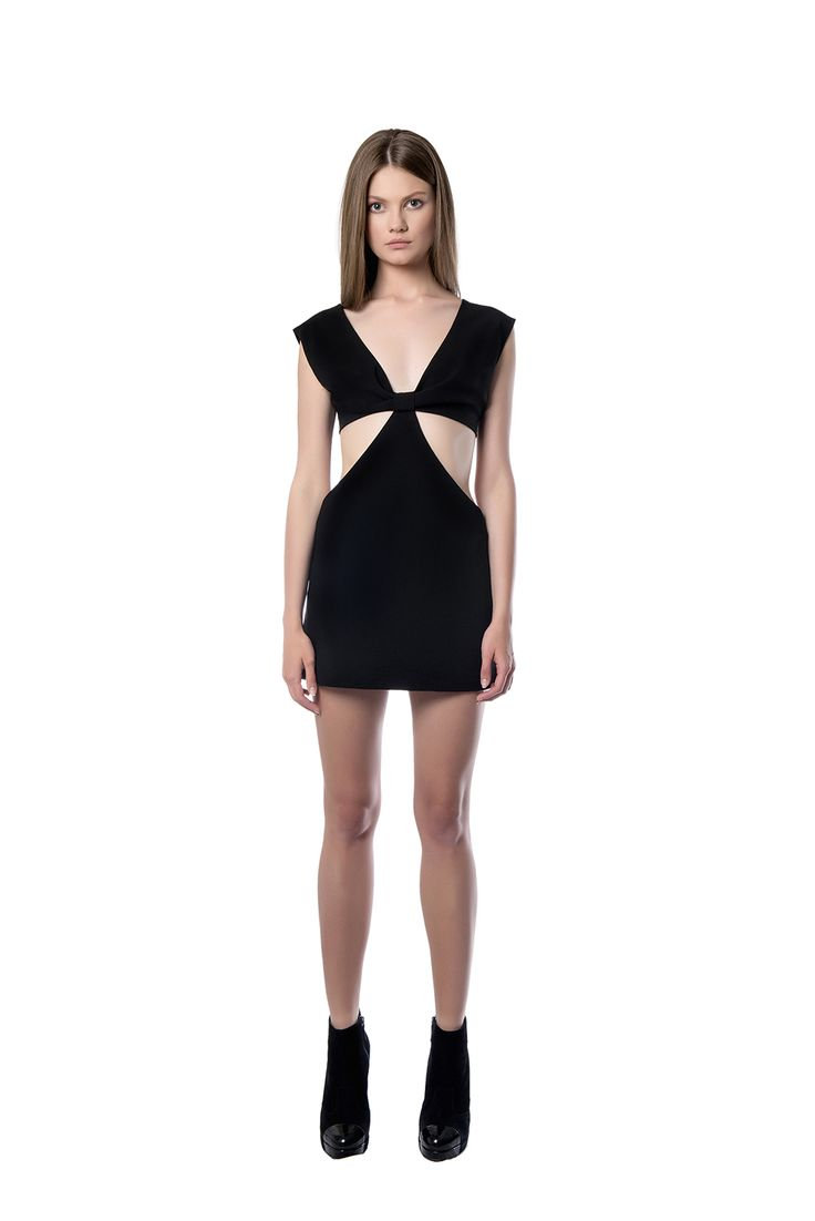 Form - fitting mini black dress  This beautiful form – fitting dress will accentuate every curve on your body. The piece is crafted from black crepe and has a cutout back and sides. We suggest styling it with sandals and a clutch.