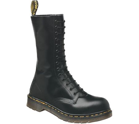 Dr. Martens 194011021 14-Eyelet Steel Toe Boot - Black Fine Haircell - Free Shipping & Return Shipping - Shoebuy.com