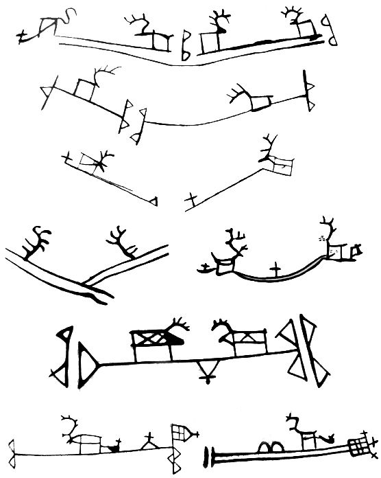 Shaman´s drum symbols in Scandinavia Saivo, sacred lake and Jabmeaimo (World of the dead under the sai