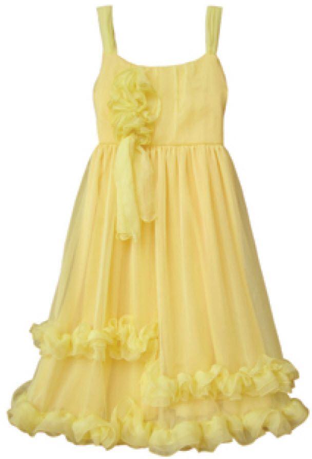 Isobella and Chloe Girls and Tweens Yellow Sunrise Splash Ruffle Hem Dress