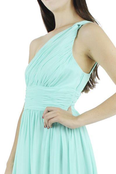 Donna Morgan Vestido azul aqua a un hombro, Raquel. RÉNTALO POR $990.00
