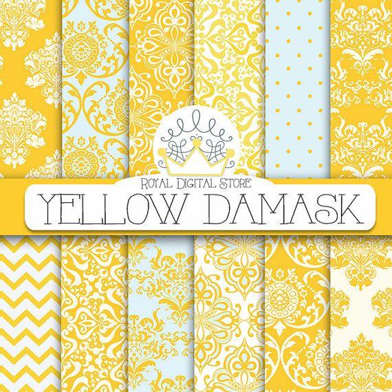 "Damask digital paper: ""YELLOW DAMASK"" with damask background, damask scrapbook paper, damask pattern, digital damask for scrapbooking, cards #yellow #damask #digitalpaper #scrapbookpaper"