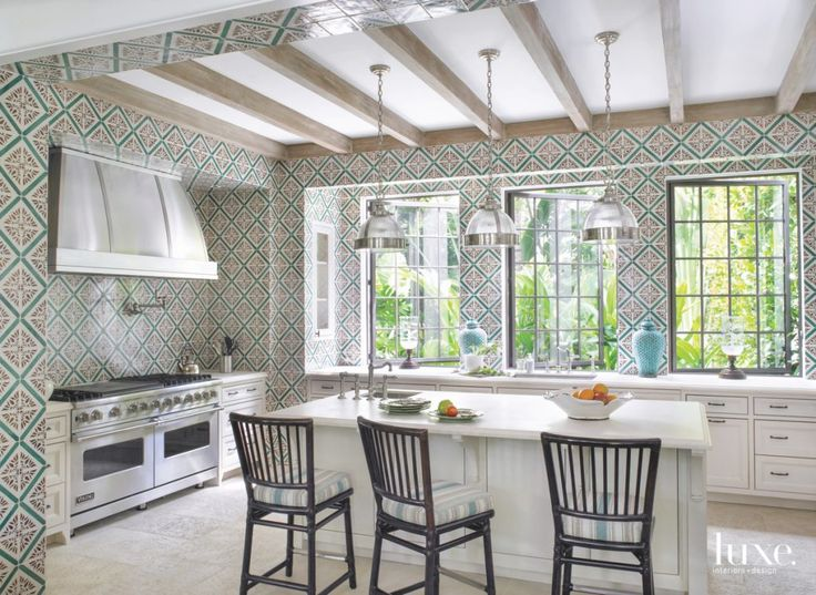 A Patterned Wallpaper Kitchen With Wooden Beams Is A Happy Design Surprise