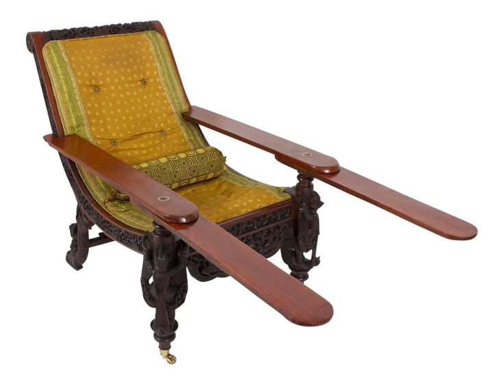 19th Century Anglo Indian Carved Plantation Or Planters Chair On DECASO.com