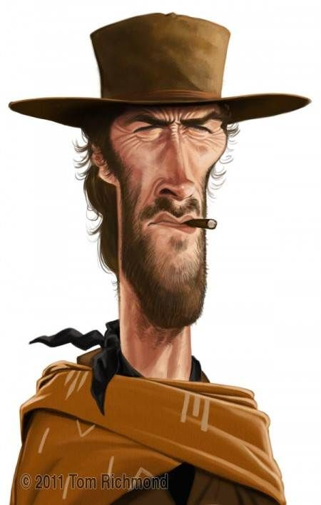 Clint Eastwood cowboy western movie illustration digital painting