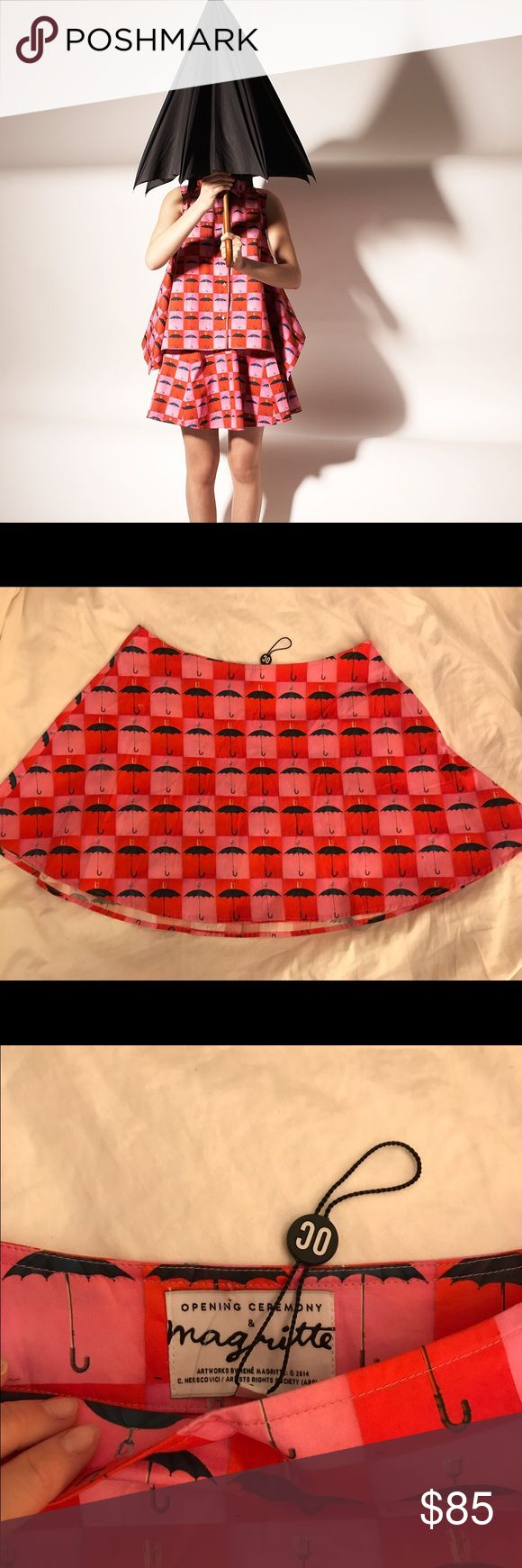 Opening Ceremony Brand New Magritte Skirt NWOT Bought from the Opening Ceremony sample sale in NYC for $120. Never worn. Adorable, sits low on hips with circle skirt shape. Anywhere from size 4-8ish could wear this depending on where on your hips you wear it.  Super hip and quirky. So fun! Opening Ceremony Skirts Mini