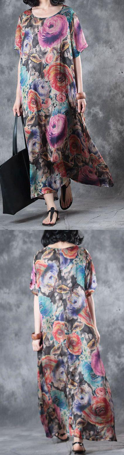 purple print silk short sleeve maxi dress