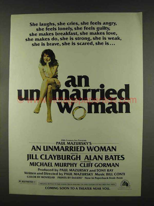 1978 An Unmarried Woman Movie Ad - Jill Clayburgh