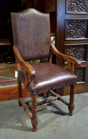 The Silla Chapital is manufactured from mesquite wood and features a tooled leather backrest. #customchair #tooledleather #demejico   http://www.demejico.com/product/in-stock-silla-chapital-grande-with-arms/
